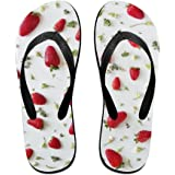 1f3ed0c55303 Couple Slipper Strawberry Repeat Print Flip Flops Unisex Chic Sandals  Rubber Non-Slip House Thong
