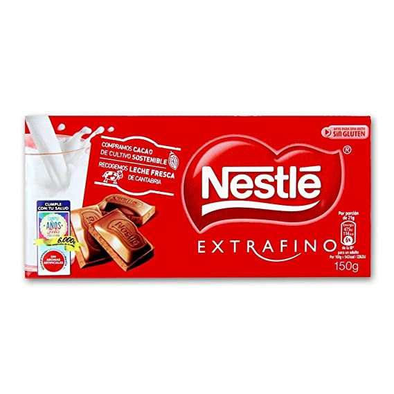 Tableta De Chocolate Con Leche Nestle Extra Fino 125g