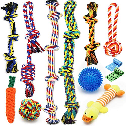 Zeaxuie Luxury Dog Chew Toys for Small to Medium Aggressive Chewers - 12 Pack Tough Dog Toys for Medium Breed with Heavy Dog Rope Toys, Interactive Rope Puppy Teething Toys, Squeaky Dog Chew Toys