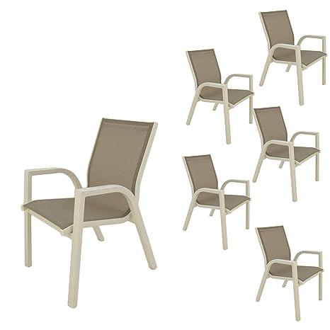 Edenjardi Pack 6 sillones de Exterior apilables | Tamaño ...