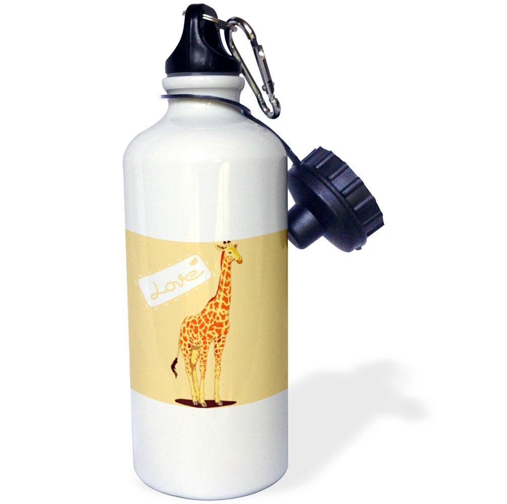 3dRose wb_54418_1 ''Orange Giraffe Love Cute Animals Fun Art'' Sports Water Bottle, 21 oz, White