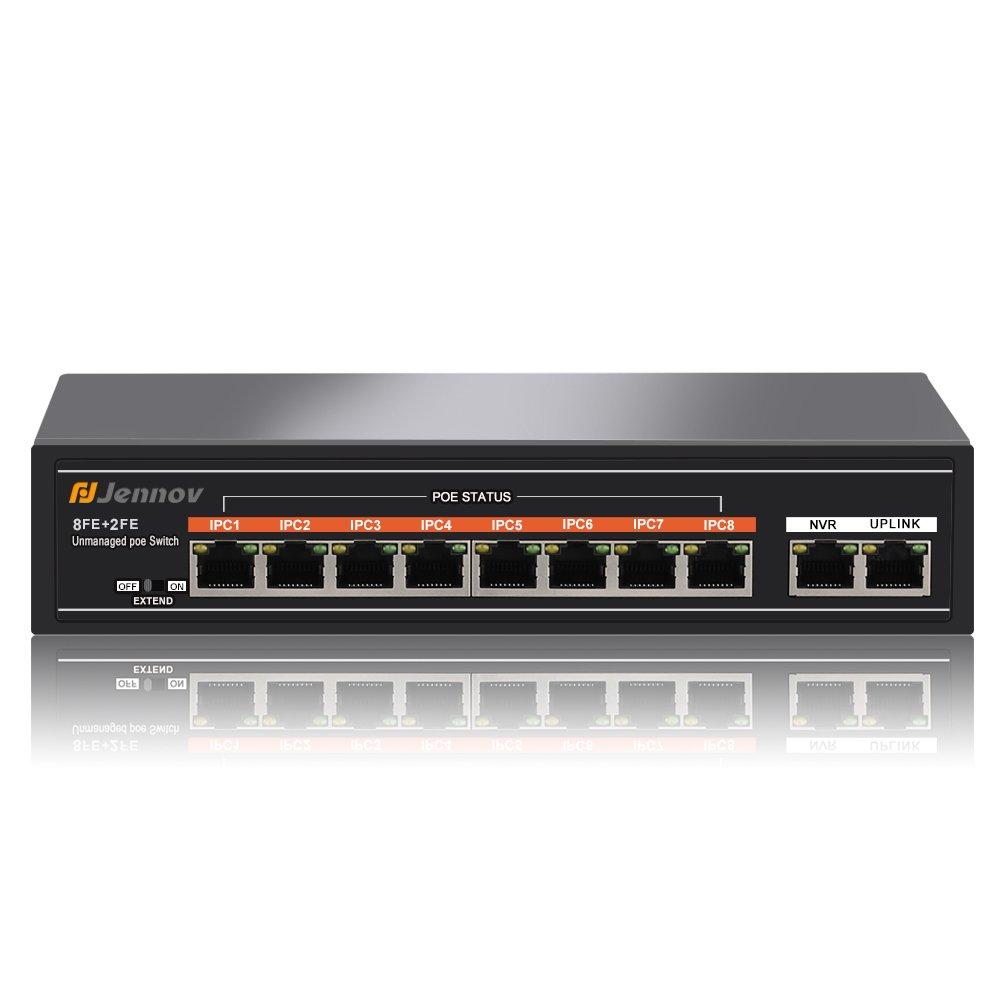 Jennov POE Switch 10 Port Unmanaged 10/100 Mbps Ethernet Switch (8 POE Ports   1 NVR Ports   1 Uplink Ports )   130W   802.3af