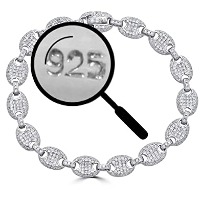 a2014c1f23d25 Solid 925 Sterling Silver Iced Out Puffed Mariner Link Bracelet - 8mm Link  - ICY Bust