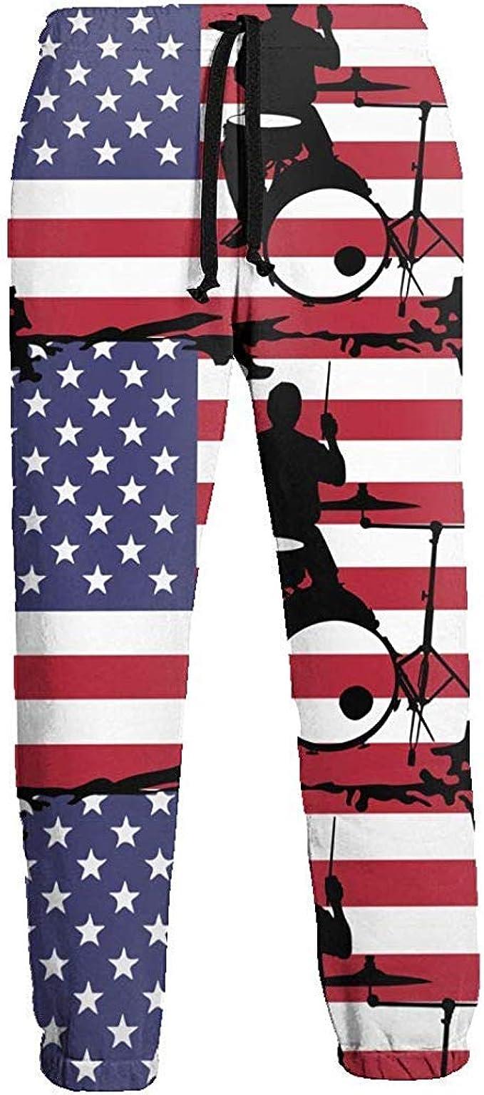 Emild Drummer with American Flag-1 Men Joggers Pants Running ...