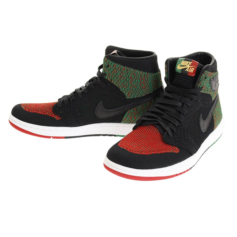 NIKE Men's Air Jordan 1 High Flyknit BHM Shoe Black/Red/Green (9.5 D(M) US) by NIKE