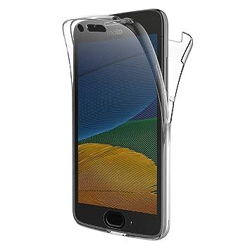 AICEK Funda Moto G5, Transparente Silicona 360°Full Body Fundas para Motorola Moto G5 Carcasa Silicona Funda Case (5.0