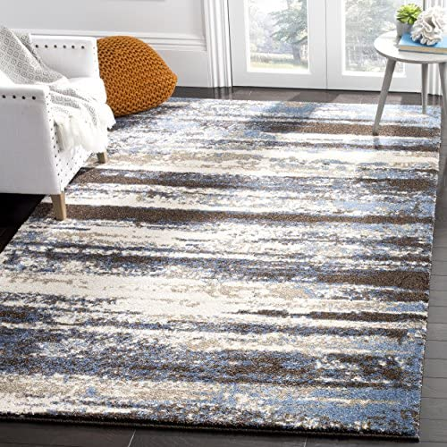 Safavieh Retro Collection Modern Abstract Cream and Blue Area Rug 4' x 6'