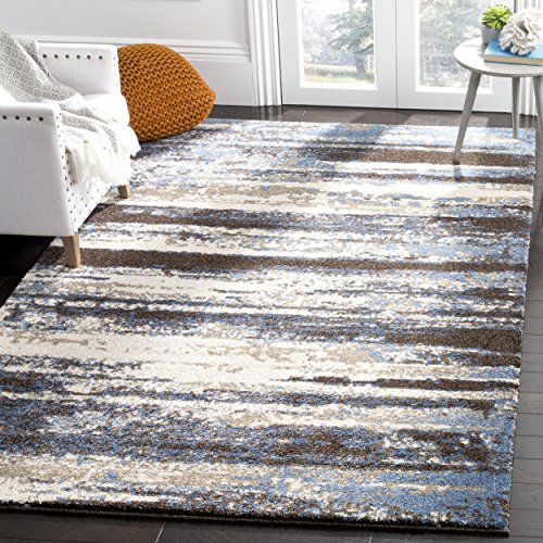 Safavieh Retro Collection Modern Abstract Cream and Blue Area Rug 4 x 6