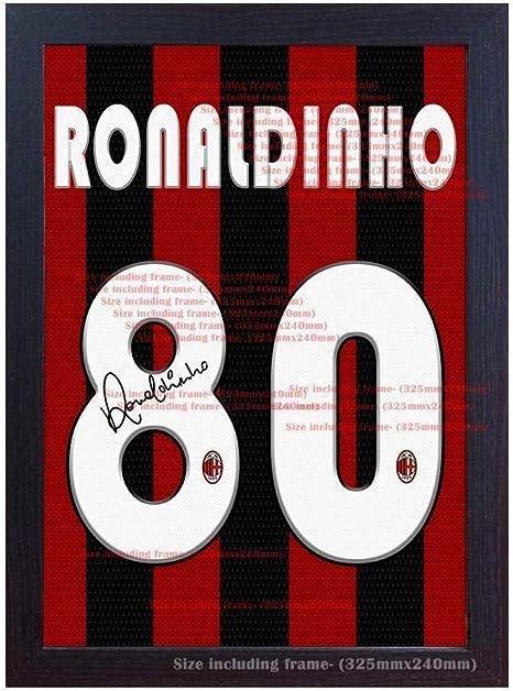 SGH SERVICES Camiseta de Ronaldinho Milan firmada en Lienzo, 100% algodón, con Marco de autógrafo y autógrafo, enmarcada, 100% algodón, enmarcada, con autógrafo: Amazon.es: Deportes y aire libre