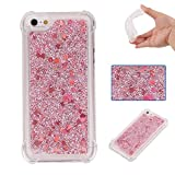 Liquid Case for iPhone 5C,Floating Case for iPhone 5C,Leeook Luxury Beauty Bling Shiny Sparkle Glitter Cover Rose Gold Love Heart Quicksand Flowing Creative Design Crystal Transparent Clear Plastic Soft TPU Protective Shock Proof Shell Case Cover Bumper fo