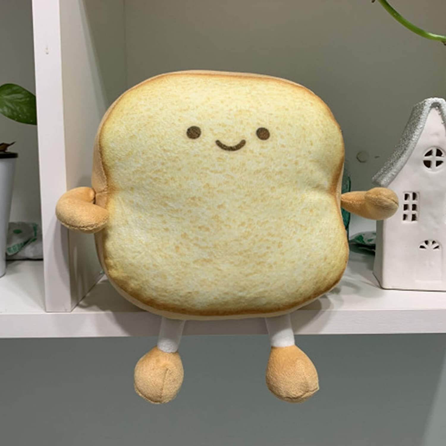 helegeSONG Animated Bread Plush Toast Pillow Toast Plush Stuffed Toast Animated Stuffed Bread Toy Food Plushies Funny Pillow Home Sofa Decor Dark Brown S