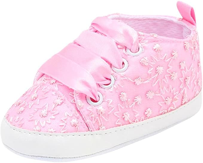 Lovely Baby Boy/'s Girl/'s Floral Embroidery Anti-Slip Sneaker Crib Soft Shoes HEA