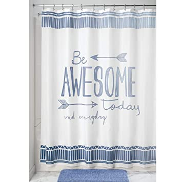 Blue Bathroom Shower Curtains.Mdesign Decorative Be Awesome Quote Easy Care Fabric Shower Curtain With Reinforced Buttonholes For Bathroom Showers Stalls And Bathtubs Machine