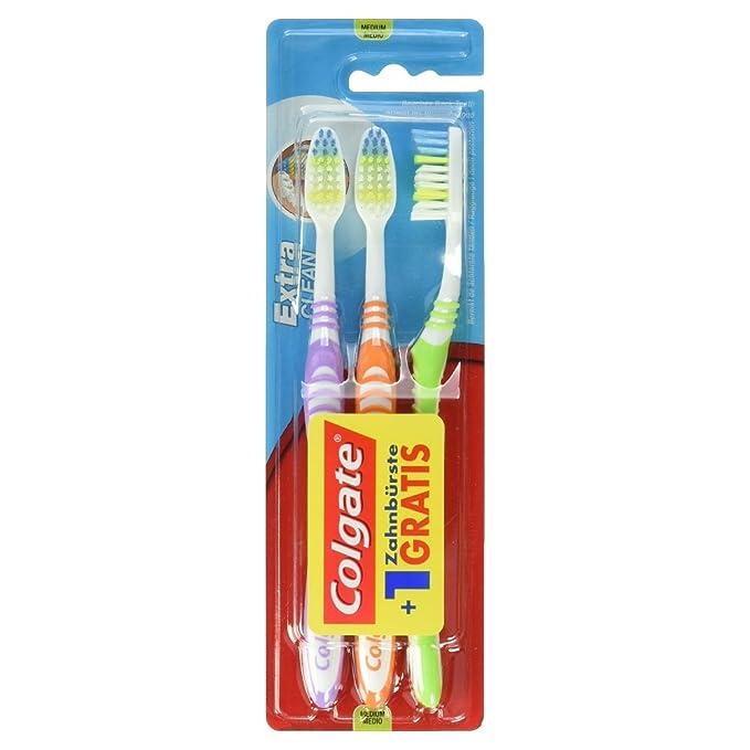 Colgate Palmolive Extra Clean - Cepillo de dientes 2 con 1 libre, 6-Pack (6 x 3 piezas), ordenados: Amazon.es: Salud y cuidado personal