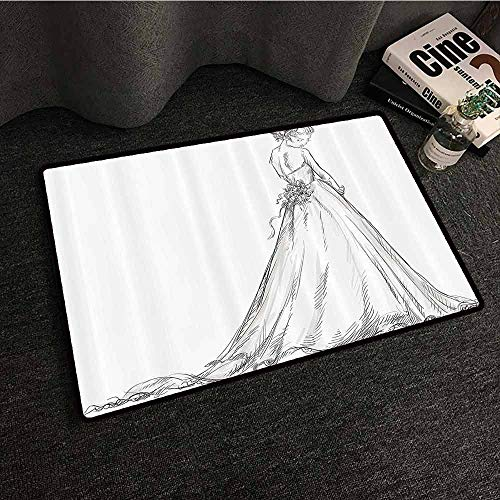 Bridal Outdoor Door mat Fairytale Ending of a Love Story Princess Sketchy Bride with Flowers Image Quick and Easy to Clean W31 xL47 Black and - Shops Brides Bridal Princess