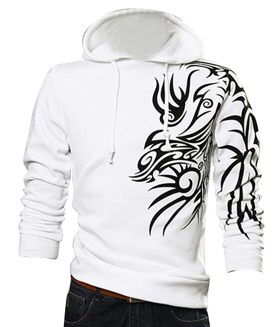 OTW Mens Athletic Hooded Chinese Style Dragon Print Sweatshirts