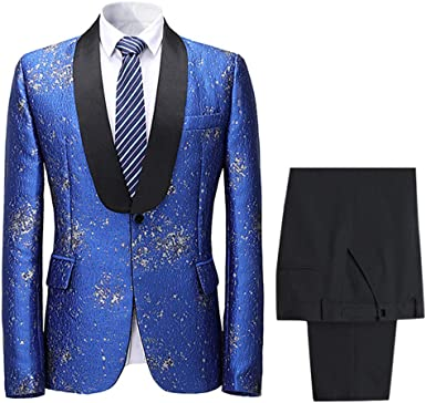 Mens Suits Slim Fit Fashion 2 Piece Suit Floral Tuxedo Sequin Blazer And Trousers Amazon Co Uk Clothing