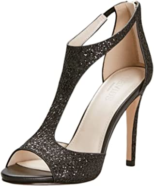 Davids Bridal Glitter Fabric T-Strap Heels Style Saylor