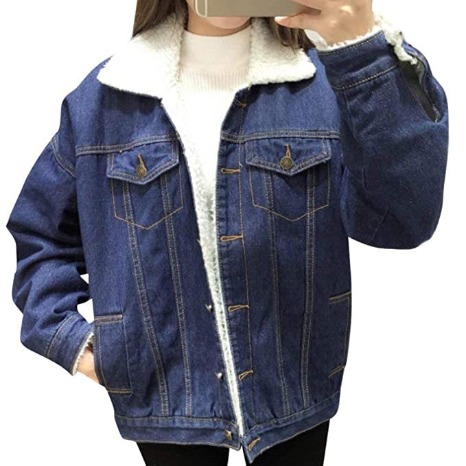 13c3a145a8 BOLAWOO Jeans Jacket con Pelliccia Hot Invernali Elegante Donna ...