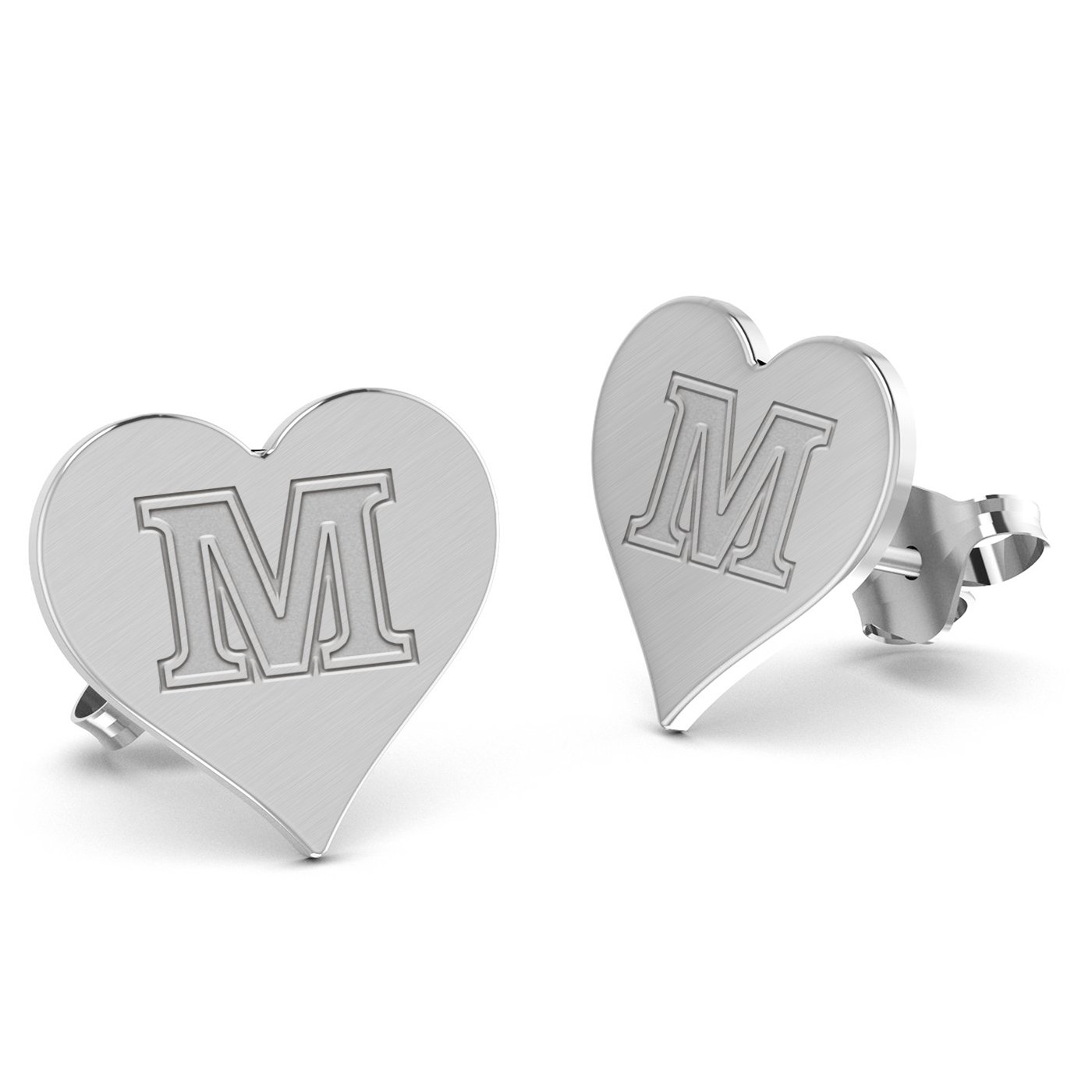 Maine Black Bears Heart Stud Earring See Image on Model for Size Reference