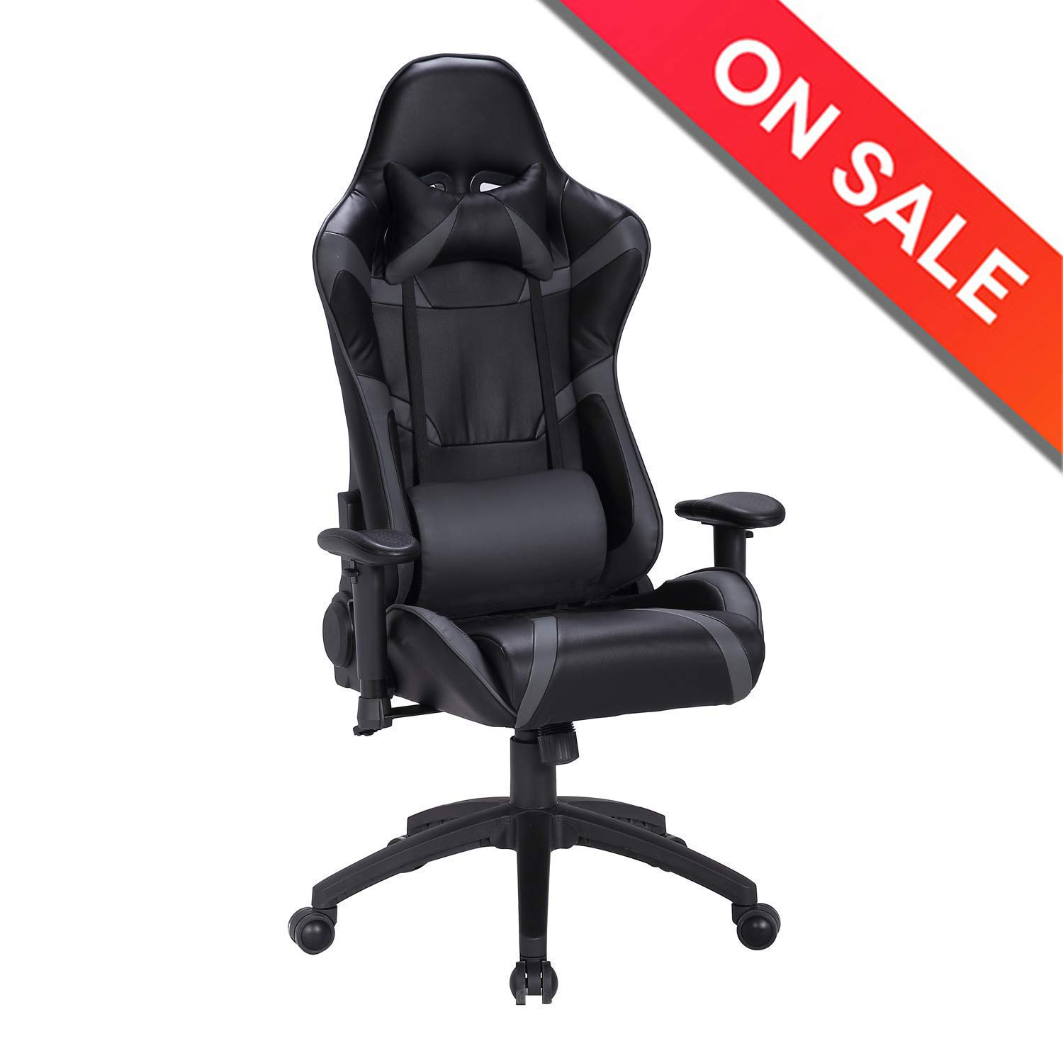 LCH Gaming Chair Ergonomic High Back Racing Chair Pu Leather Bucket Seat, Office Executive Chair Computer Desk Swivel Chair with Headrest Lumbar ...