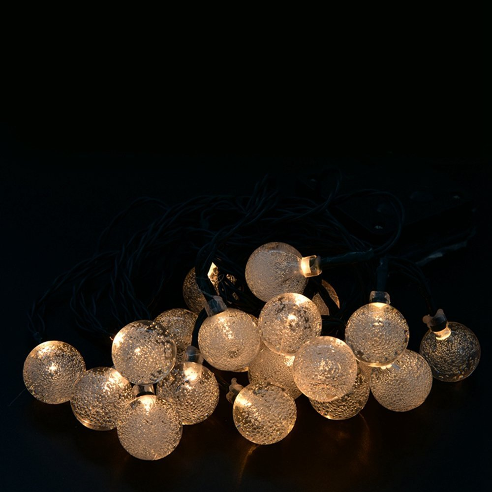Globes Lights LED Crystal Ball String Outside Hanging Lamp Yard Wedding Party