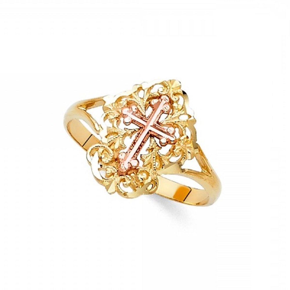 Budded Cross Ring Solid 14k Yellow Rose Gold Religious Band Diamond Cut Fancy Two Tone 15MM Size 8