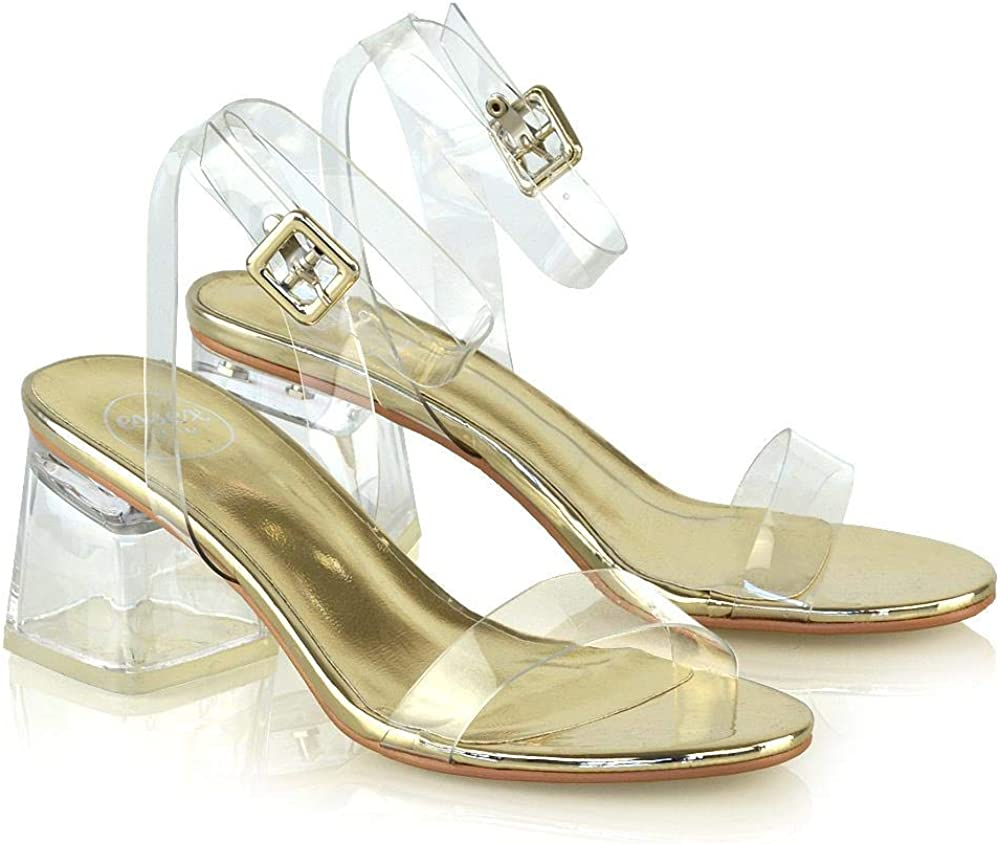 Womens Low Heel Perspex Glass Party Sandals Ladies Strappy Barely There Shoes Size 3-8