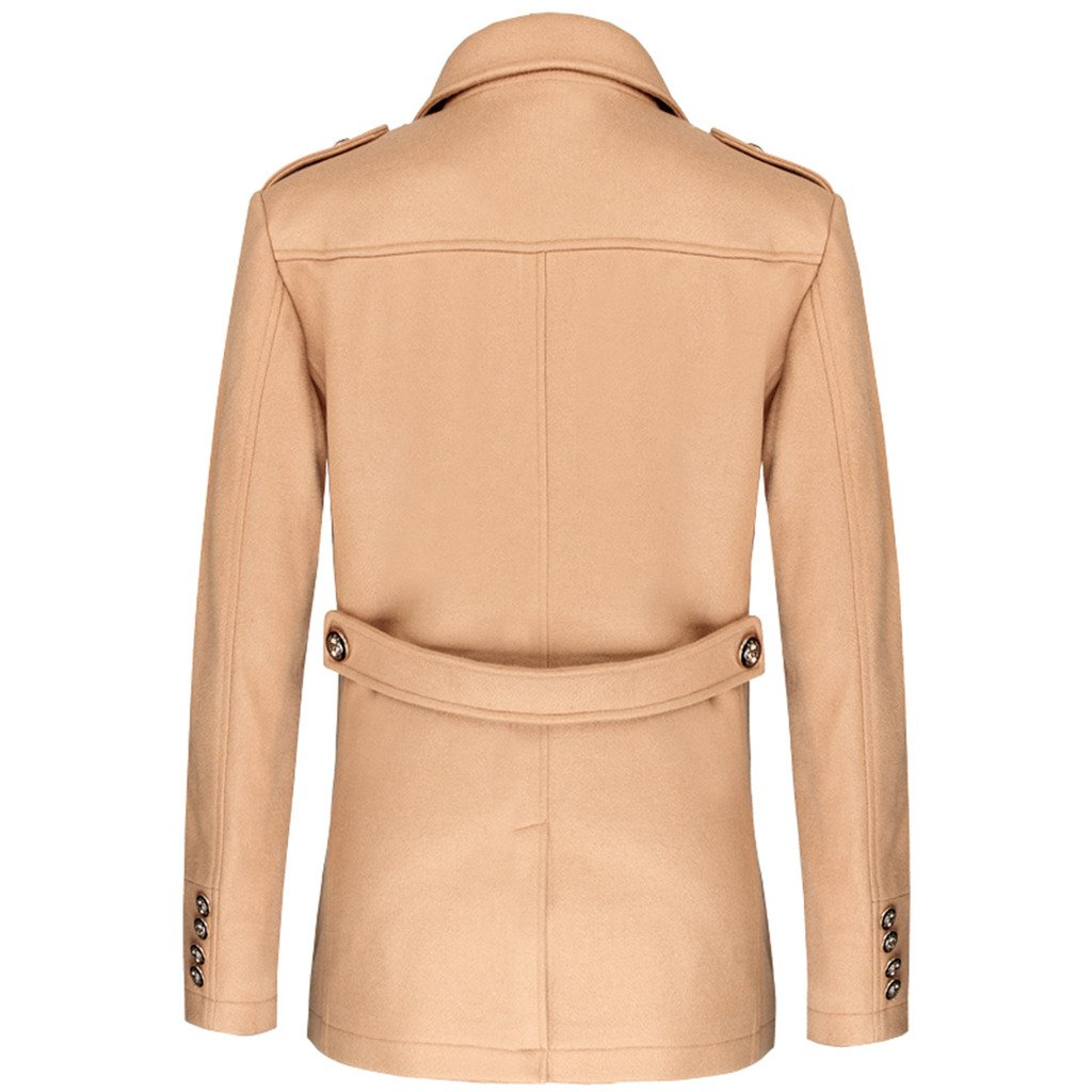 E-artist Men's Wool Pea Coats Double Breasted Overcoat N31 Camel X-Large by E-artist (Image #3)