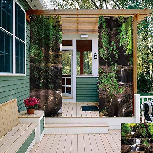 Beihai1Sun Outdoor Grommet Window Curtain,Waterfall Rock Stair in Waterfall,Waterproof Patio Door Panel,W72x108L ()