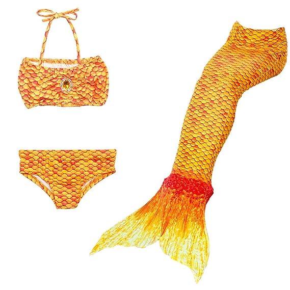 Sirena Qianchuangyuan Colorear Swimwear Baño Niñas De Traje Cola 5LRj34Aq
