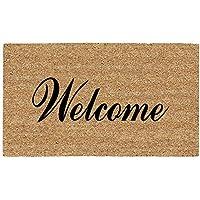 DeCoir 16 x 27 Fancy Welcome Rectangular Coco Coir Doormat