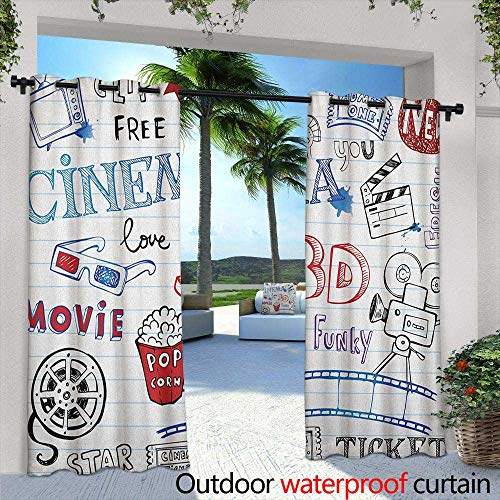 LOVEEO Movie Theater Curtains for Living Room Various Hand Drawn Icons on a Notebook Page Style Backdrop Hollywood Fun Waterproof Patio Door Panel 96