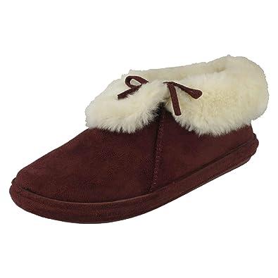 a470ab0fa6b Ladies Jyoti Warmlined Slippers Kalinda T08M013 Burgundy Textile Size 5