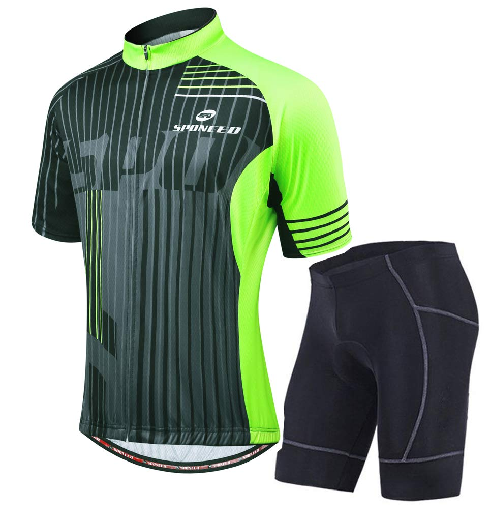 sponeed Men's Biking Jersey Pants Cycling Clothes Outfit Grey Fluorescent Green US Small