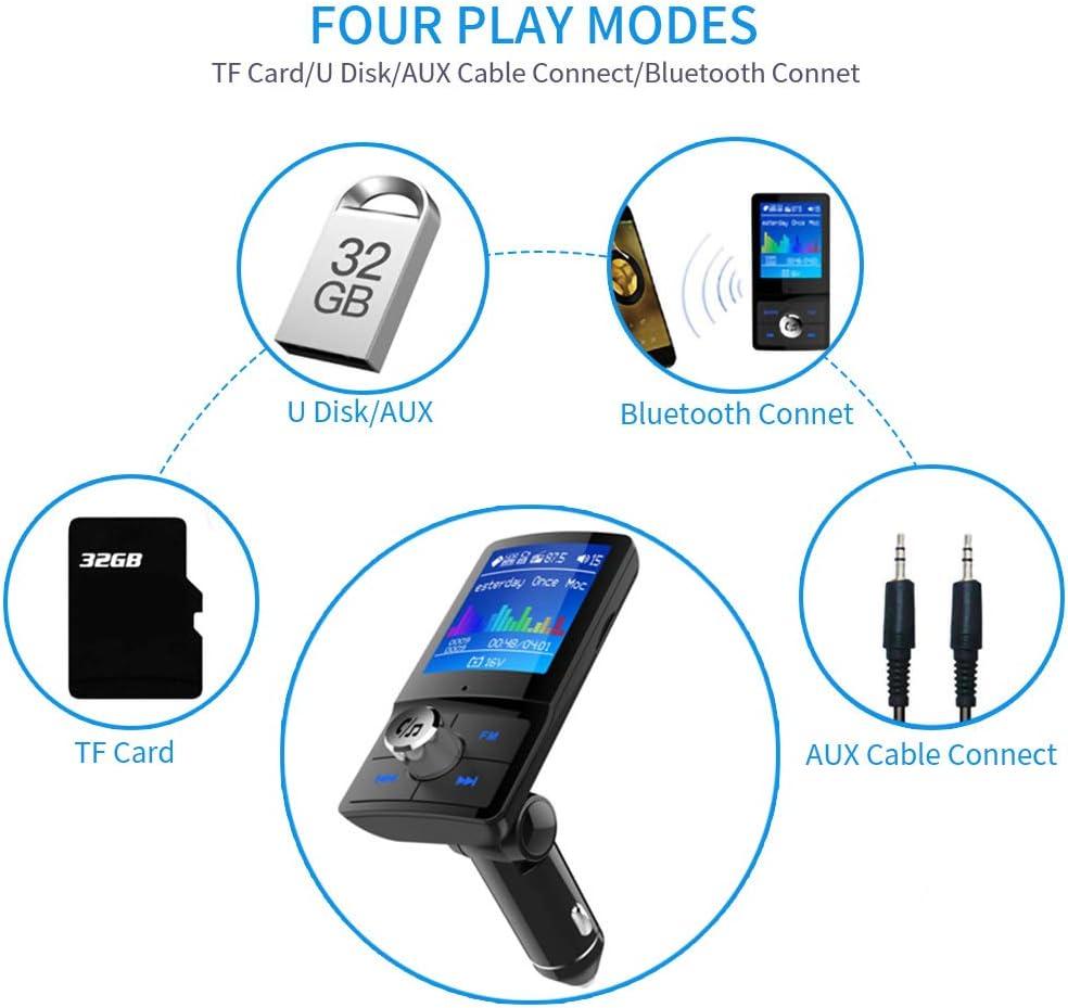 Trasmettitore FM Bluetooth per auto trasmettitore FM senza fili adattatore radio lettore MP3 con schermo da 1,8 a colori doppia porta USB chiamata vivavoce