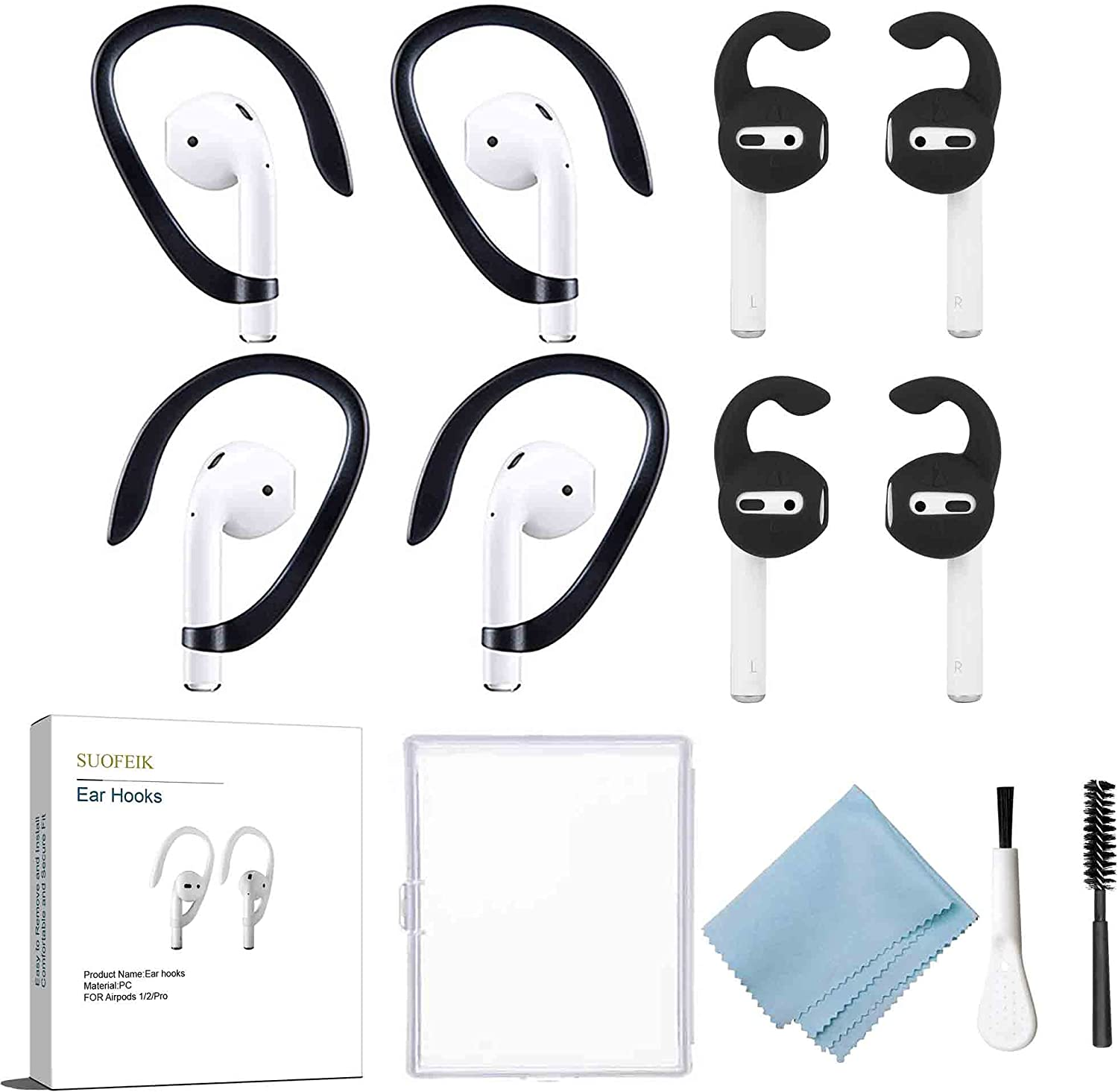 Ear Hooks Ear Cover Designed for Apple AirPods 1 and 2,Accessories for Running, Jogging, Cycling, Gym (Black)