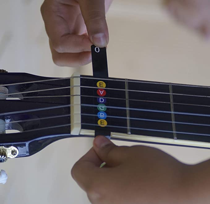 Tabla de notas para guitarra [Mapa trasero para principiantes] extraíble codificado por color - Pegatina para diapasón (para guitarras eléctricas y ...