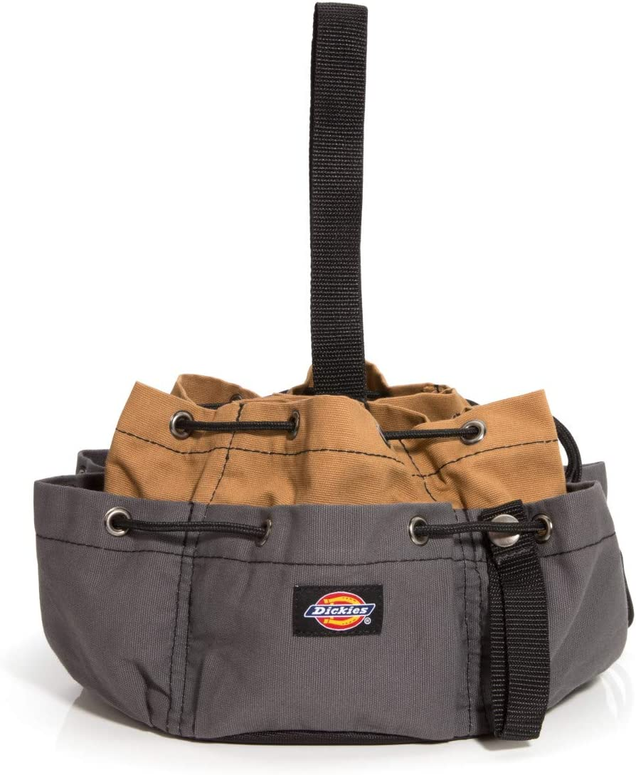 Dickies Work Gear 12-Pocket Style 57004 – Grey/Tan Drawstring Work Tool Bag – Construction – Snap-Secured Tape Strap – 8.8 oz
