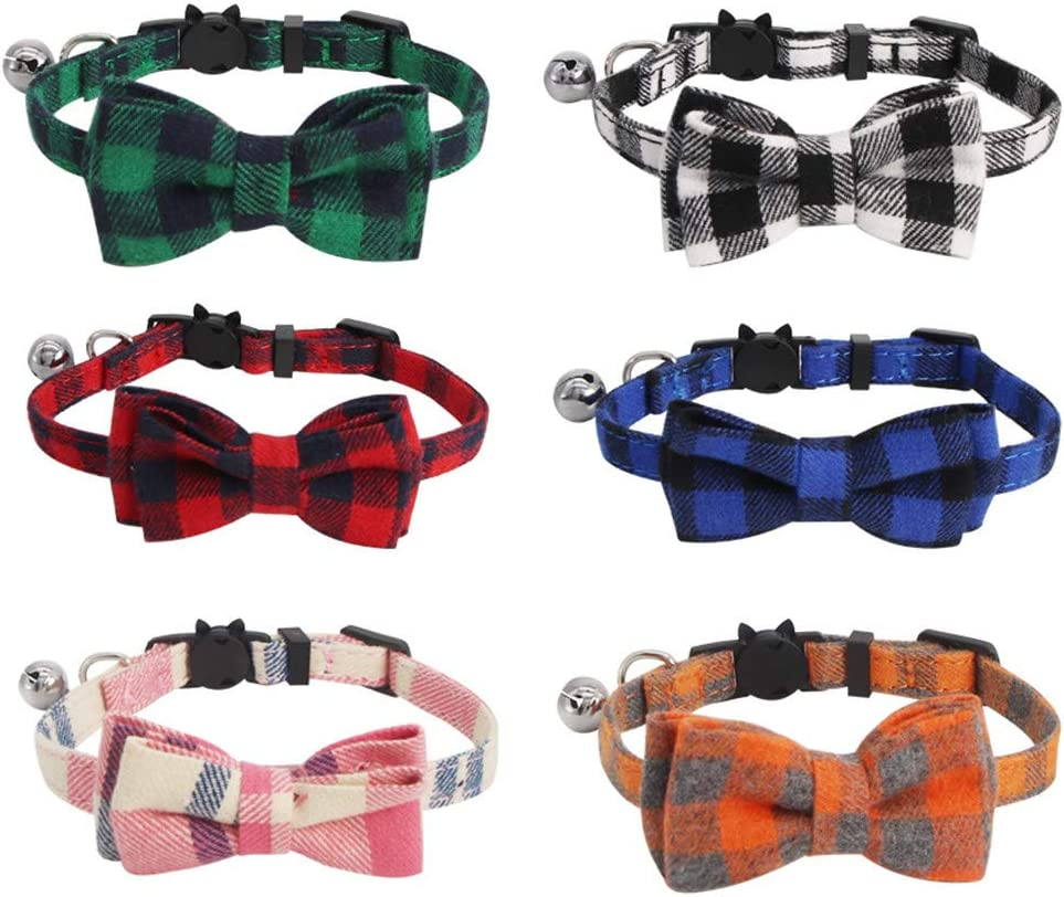 Red Green Black Blue Pink Orange SLSON 6 Pack Cat Collars with Bell Breakaway Kitten Collars with Bowtie Plaid Collars for Pet Adjustable from 8-11in