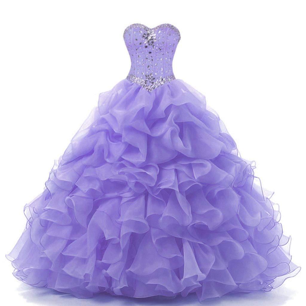 Lavender Vantexi Women's Sweetheart Beaded Ball Gown Prom Quinceanera Dresses