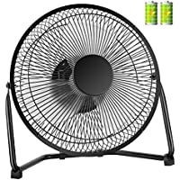 COMLIFE Biggest Rechargeable Metal Desk Fan, Battery Operated or USB Powered Table Fan with 2pcs 2200mAh Batteries, 2 Speeds and High Performance Airflow, Quiet USB Fan for Home, Office and School