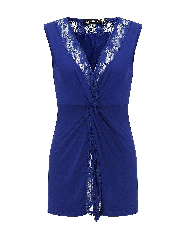 StyleDome Blusa Camiseta Casual Elegante Oficina Verano Playa Encaje Cuello V sin Mangas para Mujer: Amazon.es: Ropa y accesorios