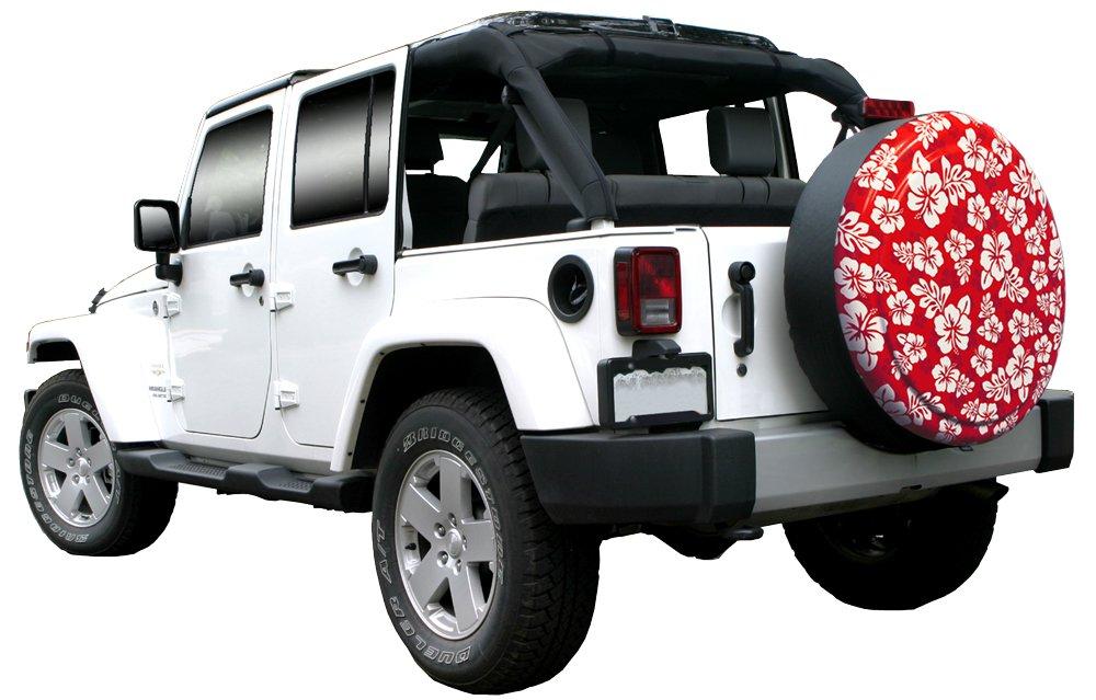 35'' Rigid Tire Cover (Plastic Face & Vinyl Band) - Hawaiian Print - Red by Boomerang (Image #4)