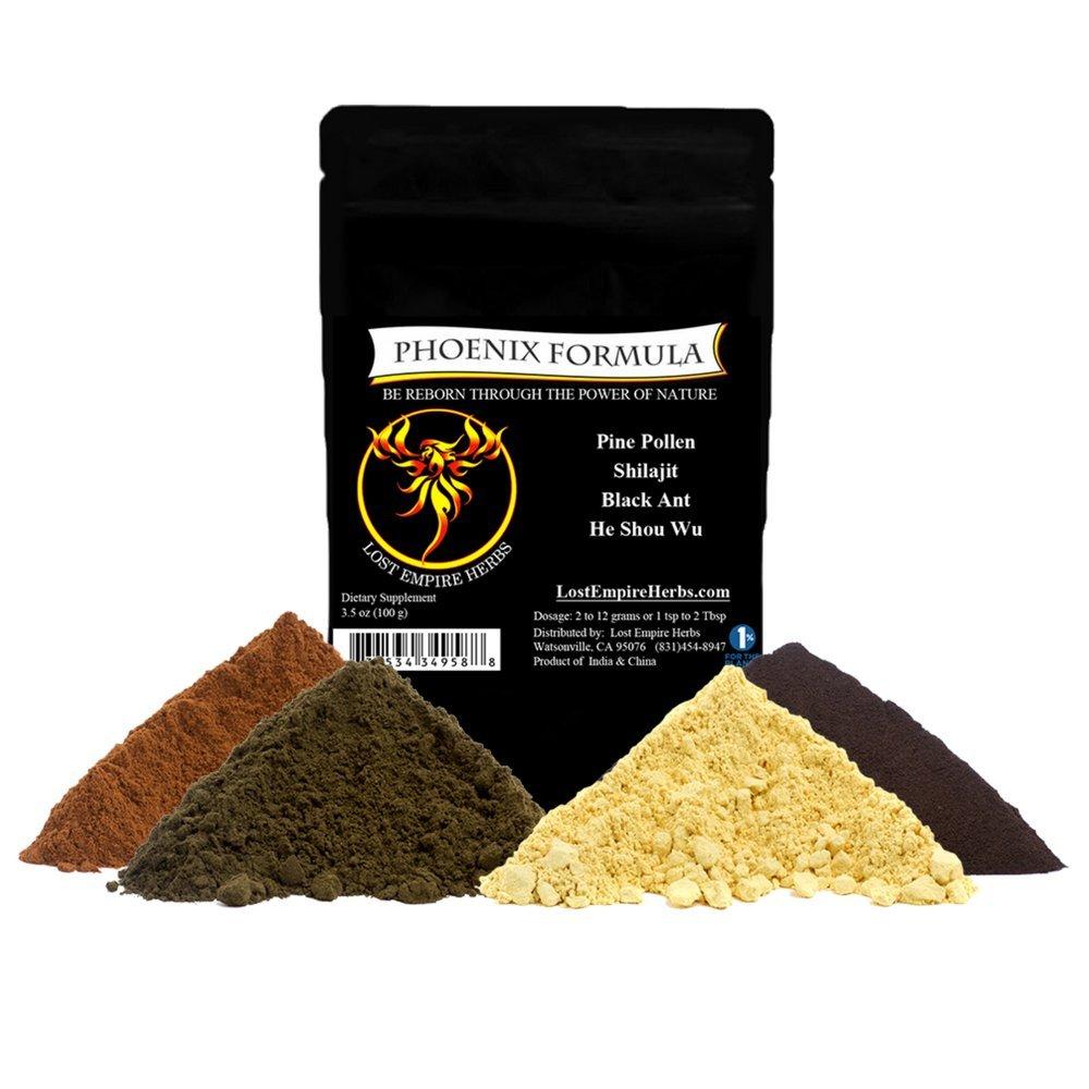 Phoenix Formula - Combines The Nutritional Value of Pine Pollen/Black Ant/Shilajit / He Shou Wu - All Natural Supplement - Organic Energy Boost/Hormone Support/Rejuvenation - (100 Grams)