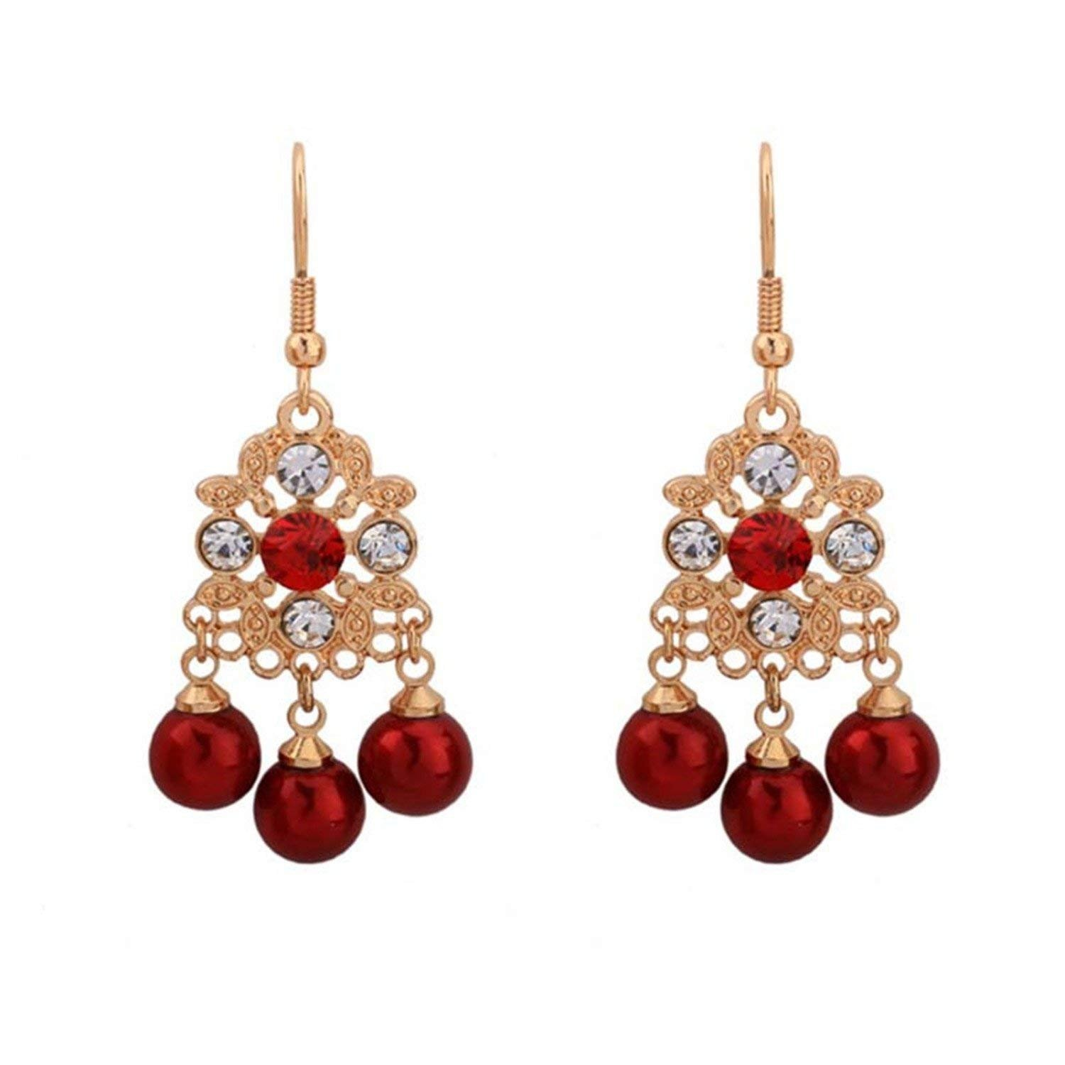 LeNG Earrings For Women NEW Classical Ear Stud With Red Pearl Round Shape Earrings Fine Jewelry EH007,Aspicture
