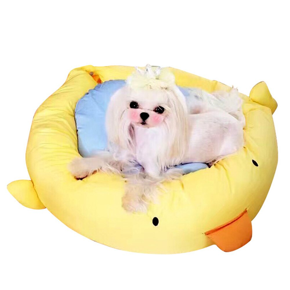 L Pet Bed for Cats Or Small Dogs,Soft Comfy Washable Cat Dog Bed with Removable Cushion Yellow (Size   L)