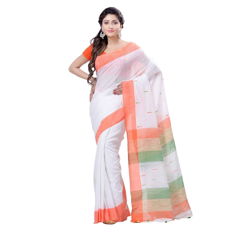 dB DESH BIDESH Women`s Traditional Bengali Tant Handloom Pure Cotton Saree With Blouse Piece (Dbsare240119Wobt1_Orange White Green_Free Size)