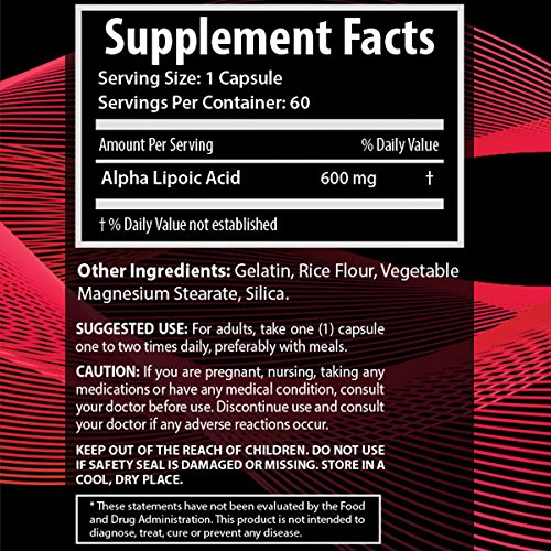 Dr039s Elite Alpha Lipoic Acid 600mg Anti Aging Antioxidant Nutritional Supplement - Decrease Diabetic Nerve Pain - Chronic Sciatica Back Pain - Relieve Pain Fast - Highest Potency ALA - 60 Capsules Discount
