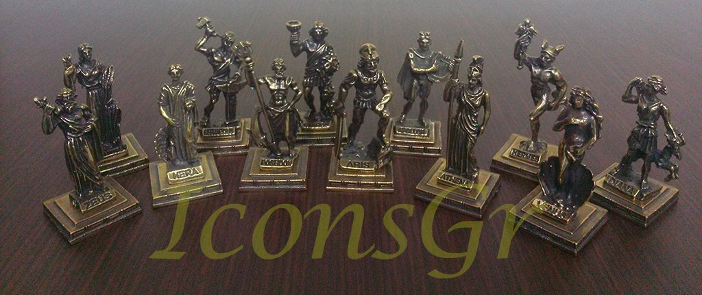 12 Olympians Gold IconsGr Ancient Greek Zamac Miniature Statues of the Gods of Olympus